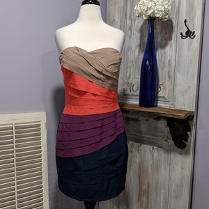 Gianni Bini multicolor layered strapless dress